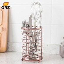 ORZ Rose Gold Kitchen Storage Organizer Chopsticks Box Utensil Holder Metal Container Case Bathroom Sundries Basket
