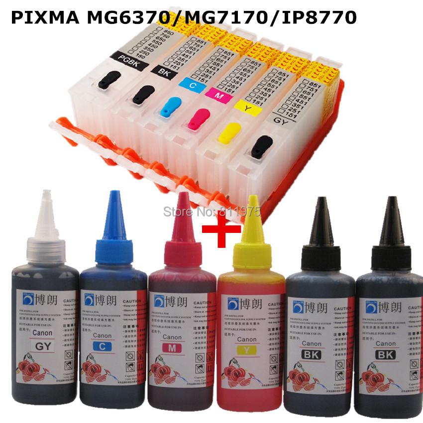 6 INK For CANON PIXMA  MG6370 MG7170 IP8770  printer PGI 750 CLI 751 refillable ink cartridge+ 6 Color Dye Ink 100ml 5pcs compatible ink cartridge for canon pgi425 cli426 pixma ip4840 ip4940 ix6540 mg5140 mg5240 mg5340 mx714 mx884 mx894 printer