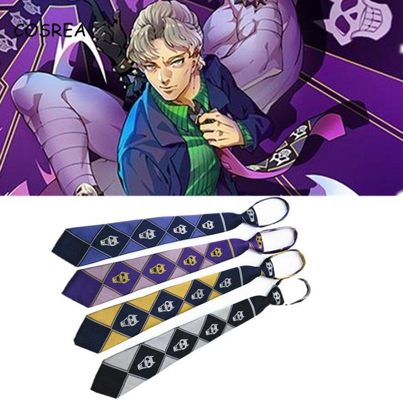JoJo/'s Bizarre Adventure Tie Purple Black Grey Cosplay Costume Killer Queen Skul