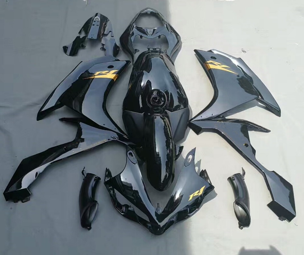 Motorcycle Injection Molding Fairing For Yamaha YZFR1 YZF-R1 2007 2008 YZF R1 07 08 Full Fairings Kit Bodywork Black UV Painted for yamaha yzf 1000 r1 2007 2008 yzf1000r inject abs plastic motorcycle fairing kit yzfr1 07 08 yzf1000r1 yzf 1000r cb02