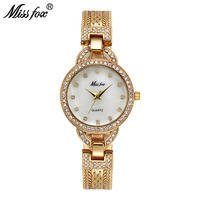 Miss Fox Woman Small Watch Cute Pearl Shell C Luxury Women Gold Watches Fashion Steel Mesh Rhinestone Sweet Style Quartz Watch
