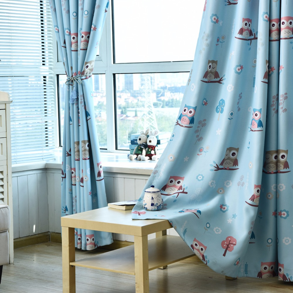 Cartoon Sailing Ship Design Shading Curtain Blackout: 1PC Blue Cartoon Owl Shade Window Curtains For The Bedroom