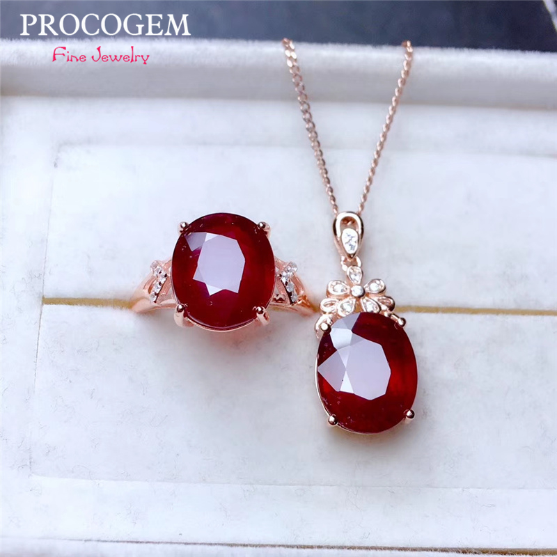 S925 Silver Heated Pigeon Blood Ruby Jewelry Sets for Women Party Necklace and Ring Fine Jewelry 6Ct Real Red gemstones Gifts