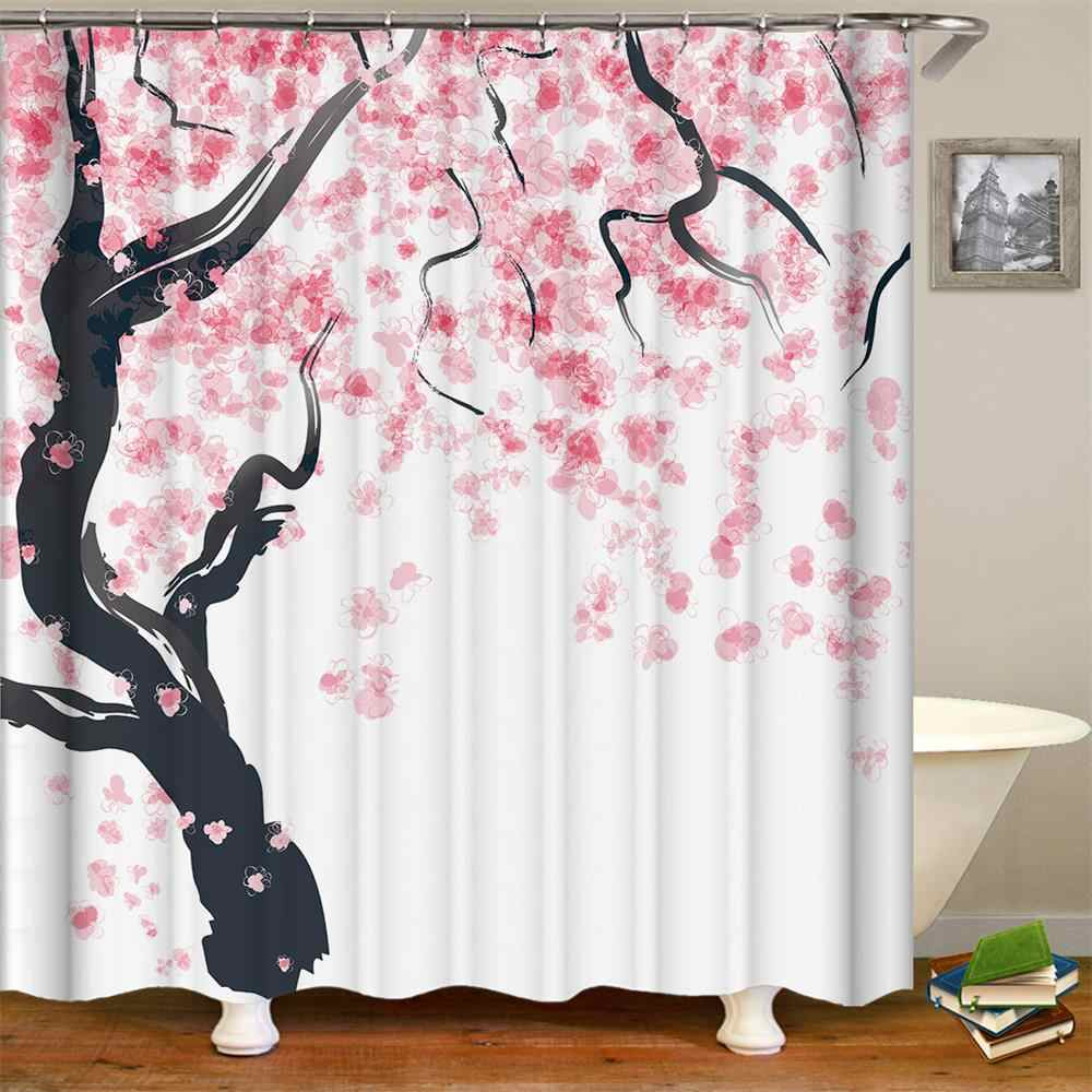 Shower Curtain Decor Season Pink Flower