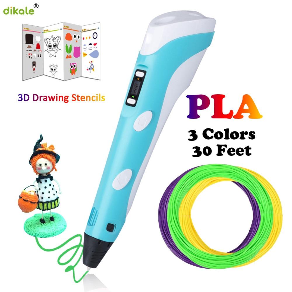 Dikale 3D Pens LED Display Screen 2nd Generation 1.75mm PLA DIY Smart 3D Printing Drawing Printer Pen 3 D Pen Best Gift For Kids