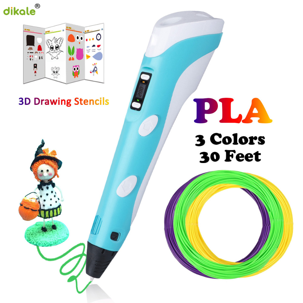 Dikale 3D Pens LED Display Screen 2nd Generation 1.75mm PLA DIY Smart 3D Printing Drawing Printer Pen 3 D Pen Best Gift For Kids