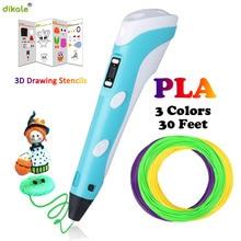 dikale 3D pens LED Display Screen 2nd Generation 1.75mm PLA