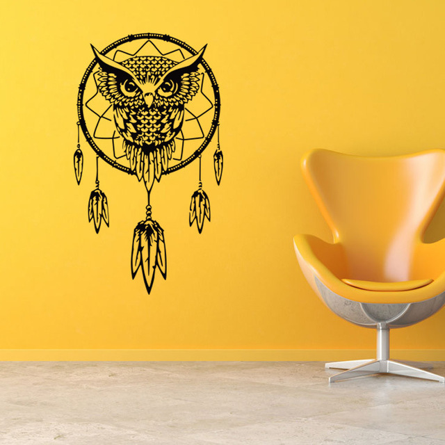 Large Owl Dream Catcher Big Wall Sticker Living Rooms Bedroom Home ...