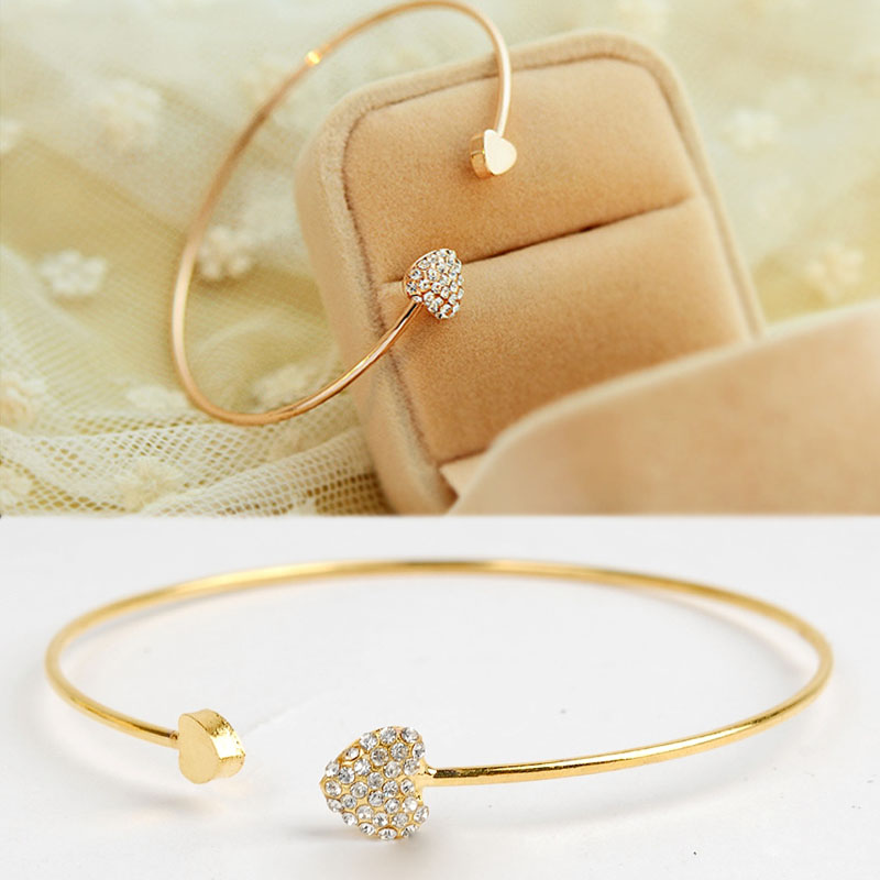 KUNIU Women Girl Simple Style Gold Tone Rhinestone Love Heart ...