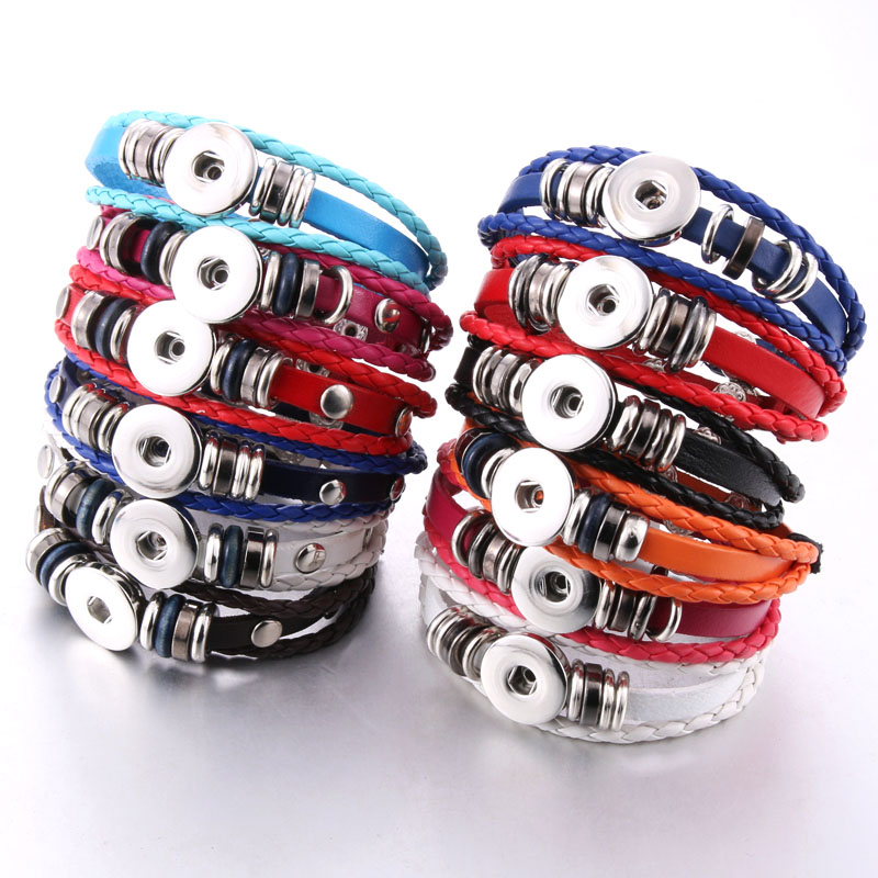 Hot Sale Snap Button Bracelet Bangle Snap Leather Bracelet Retro Handmade Braided Leather Bracelet fit 18MM Snap buttons jewelry