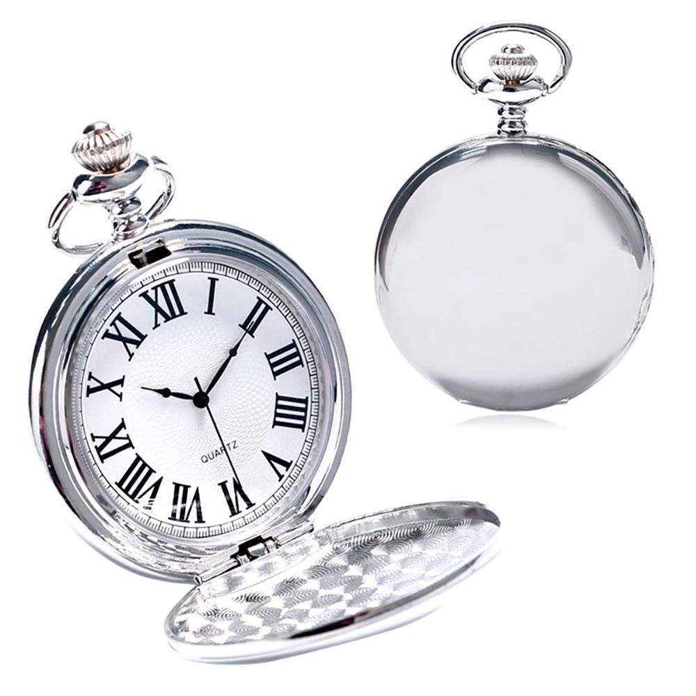 Купить с кэшбэком Black/Gold/Rose Golden/Silver Color Smooth Quartz Pocket Watches Men Women Fashion Thick Chain Retro Necklace Fob Watch for Gift