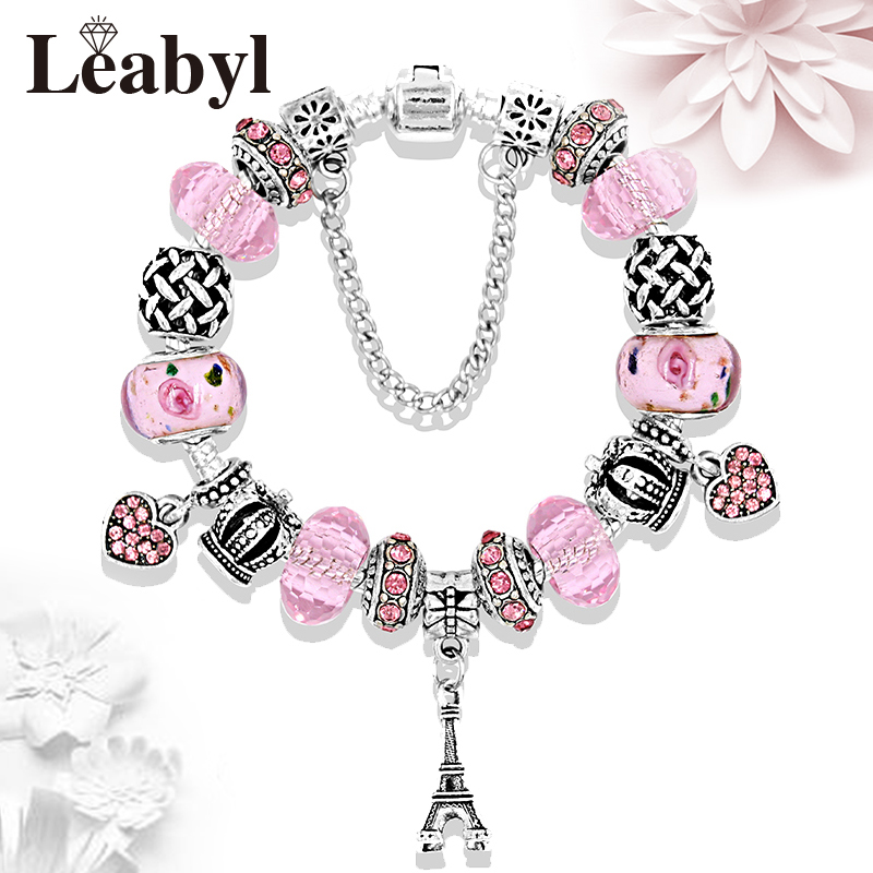 2017 HOT Pink Heart Flower Crystal Charm Pandora Bracelets & Bangles Antique Silver Eiffel Tower Crown DIY Beads Bracelet Gift