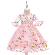 Retail 2019 New Style Girl Half Sleeves Embroidery Flower Party Dress Children Girl Elegant Princess Dress For 3-8 Years L5015