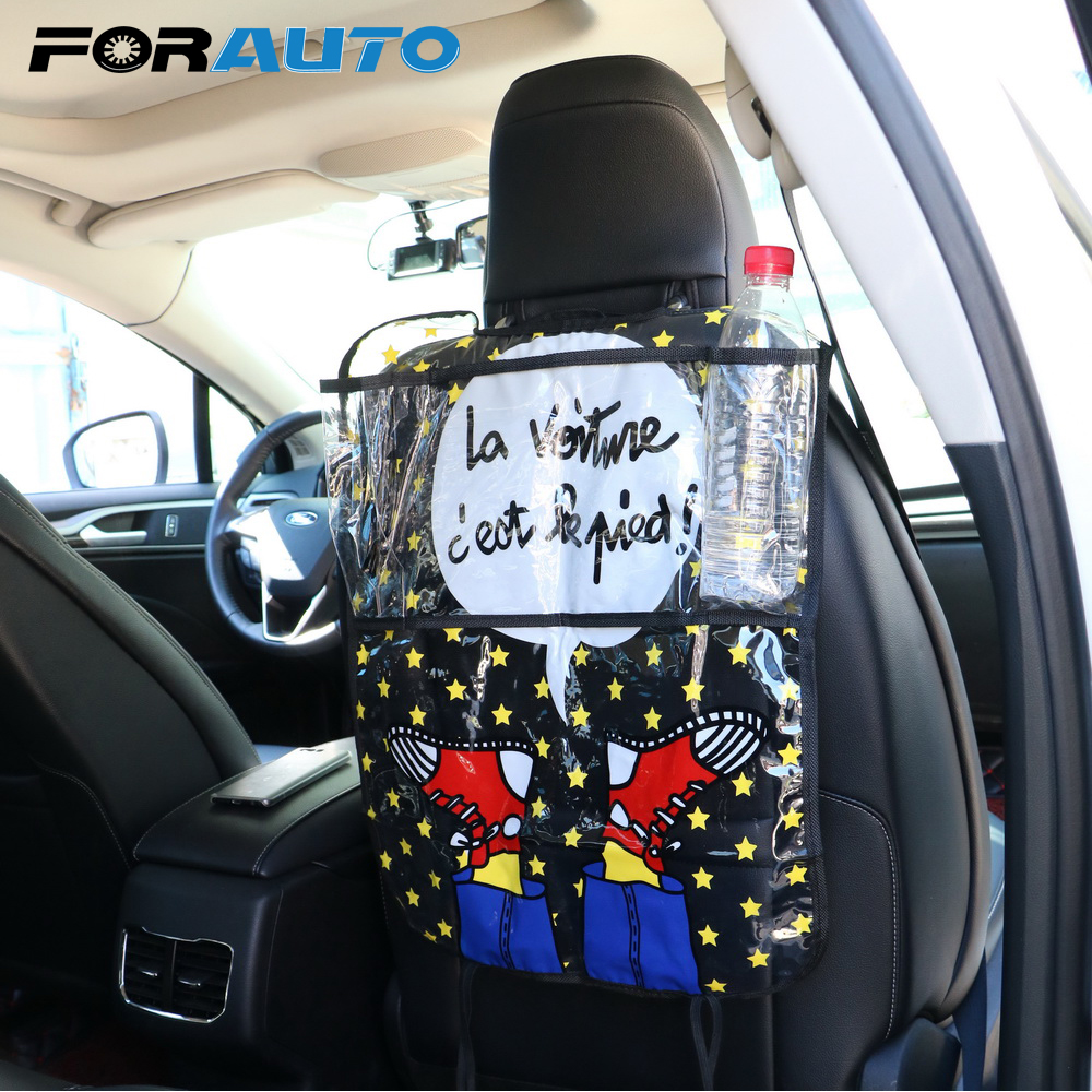 Car Seat Back Organizer Storage Bag Auto Back Seat Protector Ipad and Drink Holder for Children Kick Mud Mats Accessories