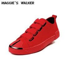Maggie's Walker New Arrival Men Leather Casual Shoes Fashion PU Elastic Platform Canvas Shoes Size 39~43