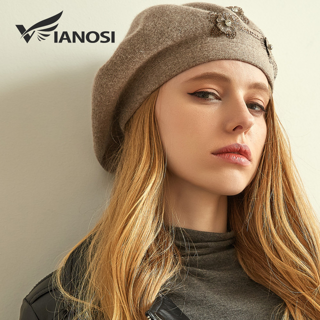 VIANOSI Women Beret Warm Elegant Flower Rhinestones 2018 New Winter Wool  High Quality Knitted Female Hats Caps 15f293a191a9