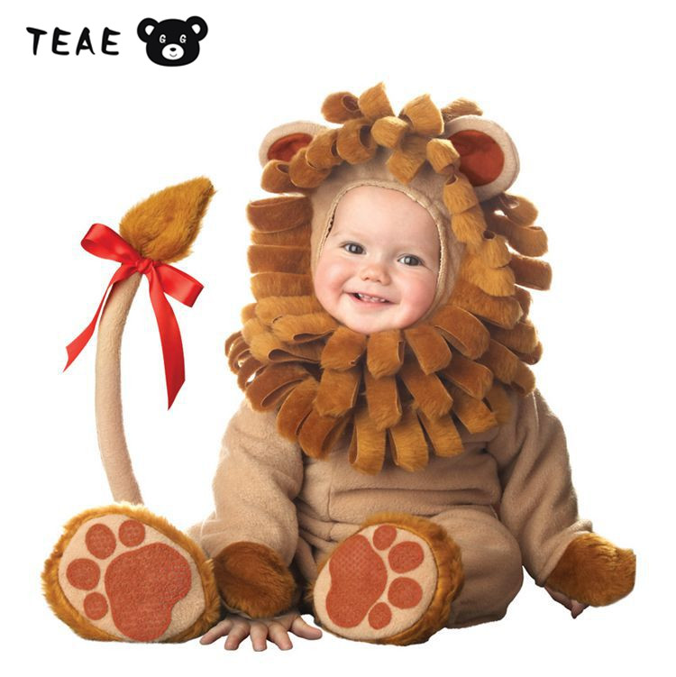 TEAEGG Baby Animal Lion Ester Halloween Costume Cute photograph For Newborn infant boys girls Cosplay Overall Rompers 0 3 6 24M brand infants costume series animal clothing set lion monster owl cow clasp elephant kangroo baby cosplay cute free shipping