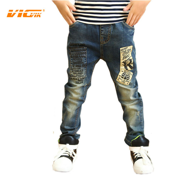 VICVIK Brand Jeans for Boys Ripped Jeans for Kids Children Trausers Designer Kids Jeans Long Pants New Style Hot Sale Jean