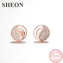 SHEON Authentic 100% 925 Sterling Silver Round Pave Cubic Zirconia Stud Earrings For Women Jewelry
