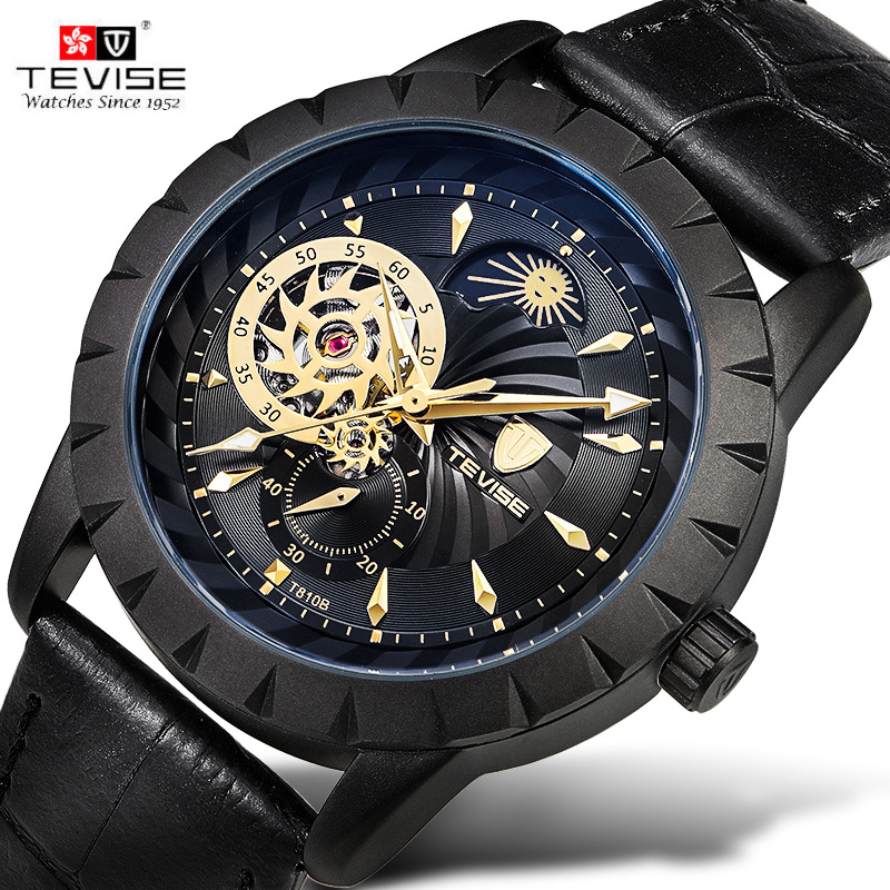 New Tevise Men's Cool Wristwatches Moonphase Auto Mechanical PU Leather Strap Watches Xmas Gift Box Free Ship tevise wristwatches steampunk men s roman number day watch automatic mechanical watches gift box free ship