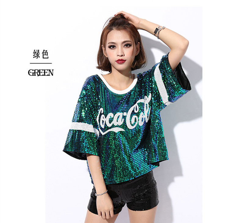 2018 New female sexy nightclub ds costumes jazz Dance Wear tops singer  perform t shirt hip-hop clothing sequined tops. US  17.75 ca338bf27