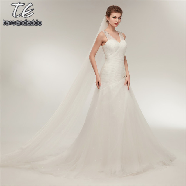 В наличии модели два Sheer широкими лямками бисером заниженная свадебное платье Ruched Свадебные платья мягкий тюль Цена включает вуаль