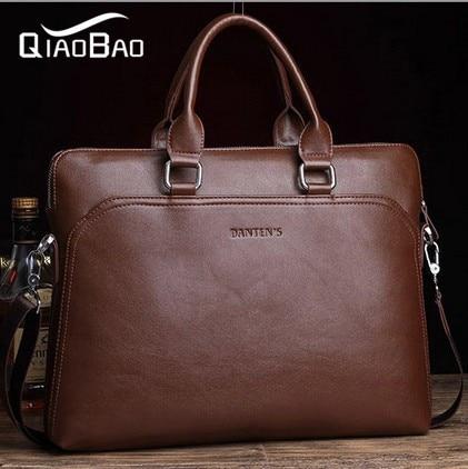 QIAO BAO New 2017 brand Fashion Genuine Leather+pu Men's Briefcase, Business Handbag, Men Messenger Bag, Big Bags