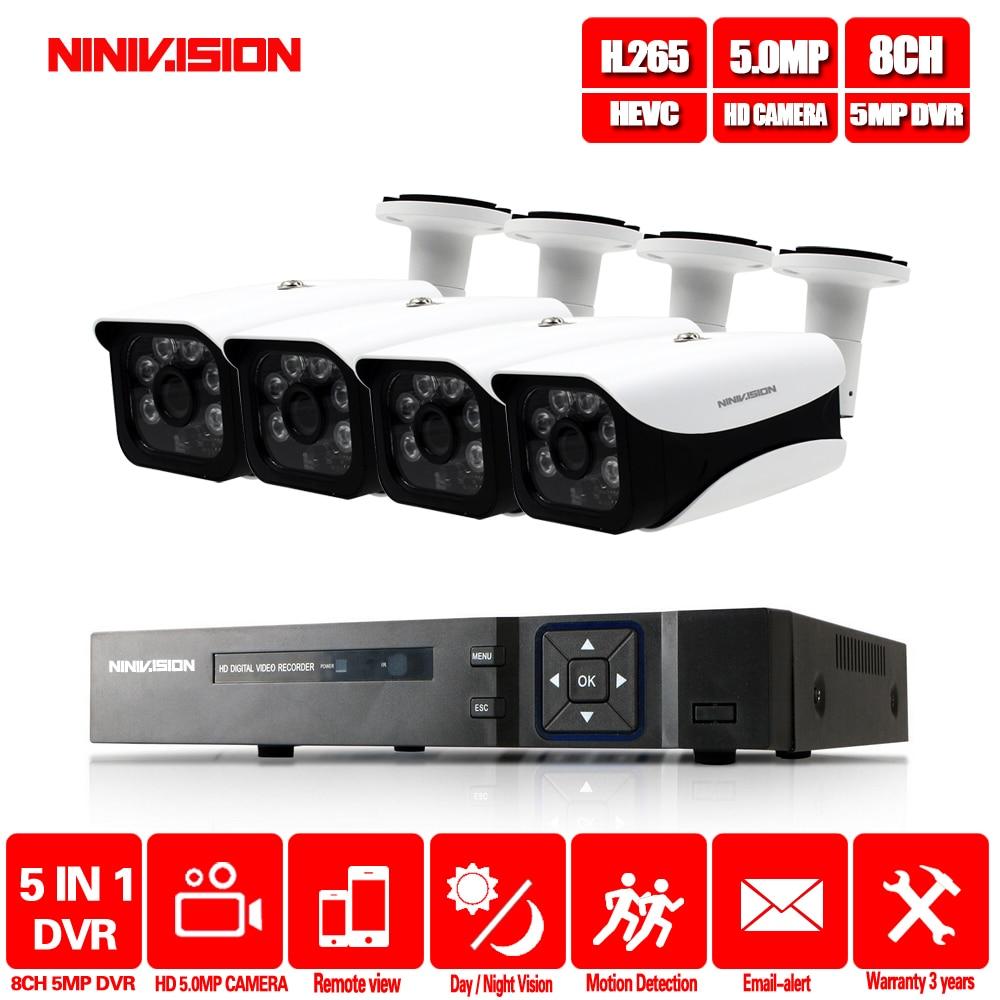 NINIVISION HD 5MP H.265 Video Surveillance 4 Cameras Security Camera Set For CCTV HD 5MP indoor Outdoor Security Camera System