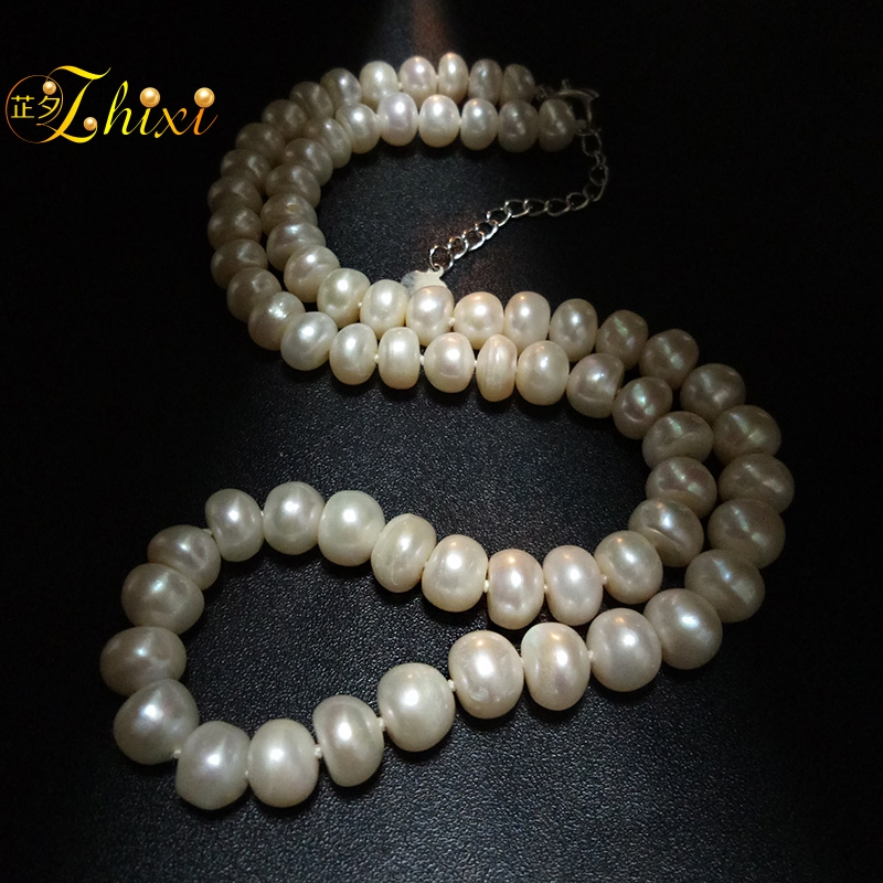 c867e1a3c74 ZHIXI Freshwater Pearl Necklace Fine Jewelry Natural Pearl Necklace For Women  White Trendy Stone Collar Anniversary Gift X802-in Necklaces from Jewelry  ...