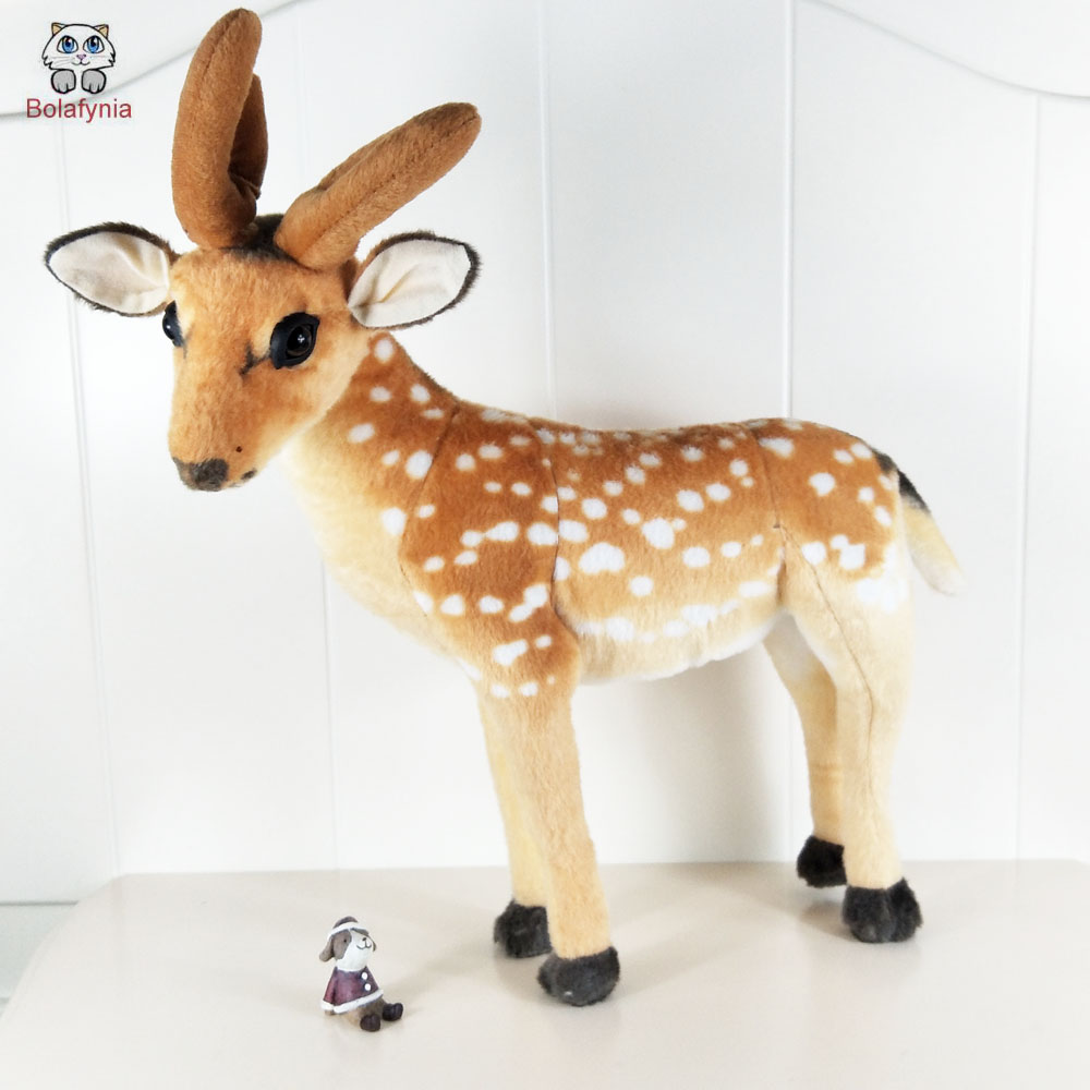 BOLAFYNIA Children Plush Stuffed Toys Baby Kid Toy simulation standing deer for Christmas Birthday Gift