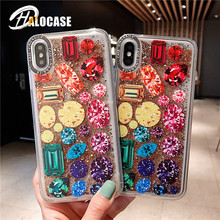 Cute candy Glitter Dynamic Liquid Quicksand Case For iphone 6 6s 7 8 plus Soft silicone case for X XS MAX XR capa