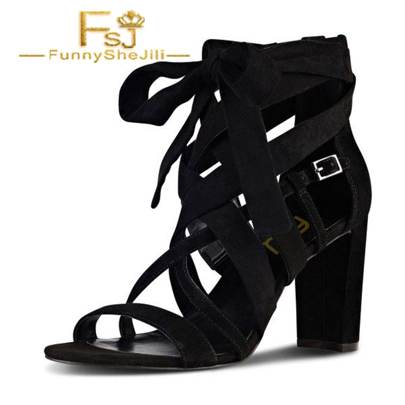 Sincere Black Strappy Sandals Lace Up Suede Block Heels Summer Black Friday Incomparable Generous Attractive Fashion Noble Sexy Fsj Women's Shoes