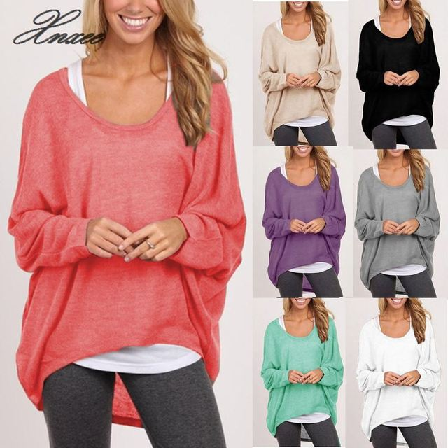 Womens Plus Size Long Sleeve Pullover Casual Loose Baggy Loose Top Jumper