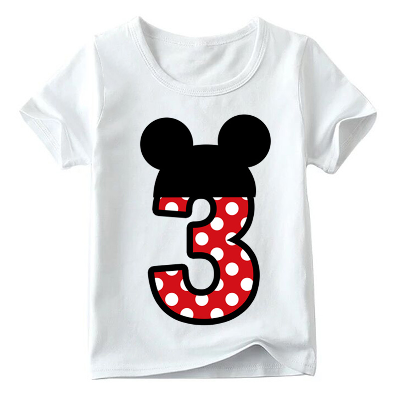 Baby Boys/Girls Happy Birthday Letter Bow Cute Print Clothes Children Funny T shirt,Kids Number 1-9 Birthday Present,HKP2416 18