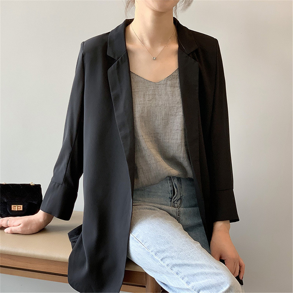 Summer Women Office Thin Suit 2019 Small Long Sleeve Chiffon Suit Jacket Women`s Autumn Work Blazer Suit All Match Suit Y0506 (20)