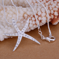 Crystal Starfish Decoration pendants 925 sterling silver Women's necklaces 20'' chains Colar de Prata For Valentine's Day Gift