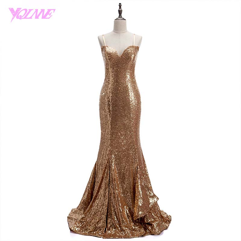 YQLNNE Sexy Gold Sequins   Prom     Dresses   Long Mearmaid Evening Gown Straps Party   Dress