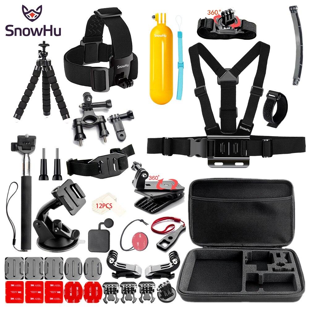 SnowHu sport caméra accessoires set pour go pro hero 7 6 5 4 kit de montage pour SJCAM/SJ4000/pour xiaomi pour yi 4 k pour eken h9 SH84V