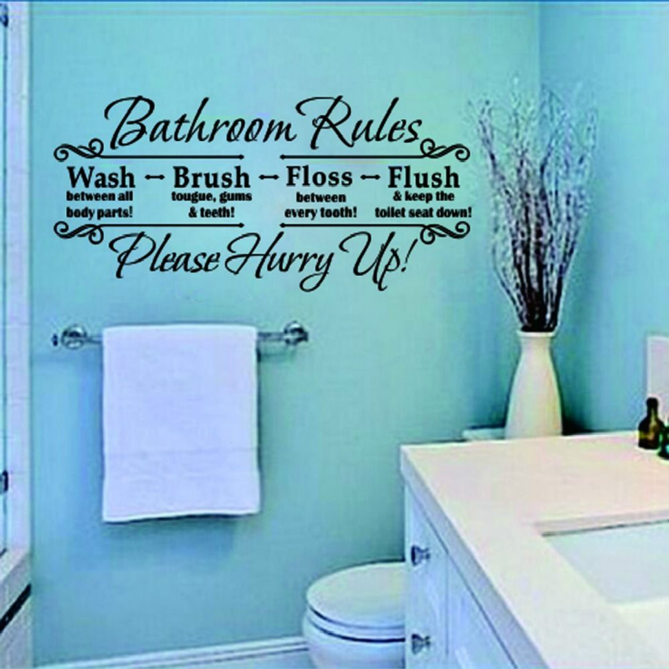 Bathroom rules quote removable wall sticker sticker for Bathroom wall decor vinyl