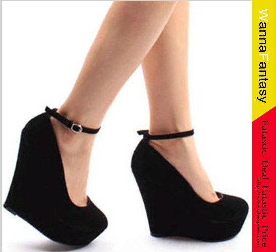 3fd2ab7f4ffa 2014 Cute 2 suede purple wedges black wedges women s ankle strap high  plarform wedges heel shoes