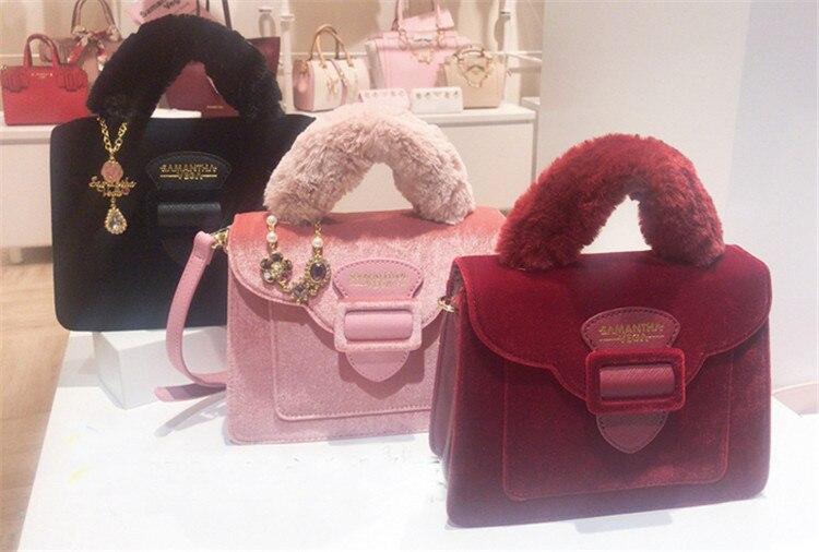 17 Christmas limited velvet suede handbag Samantha Vega plush handle organ shoulder bag Retro small flap square Messenger bag 2