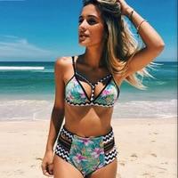 2017 Sexy Women Summer Push Up Bikini Set High Waist Swimsuit Swimwear Bikinis Floral Print Trikini