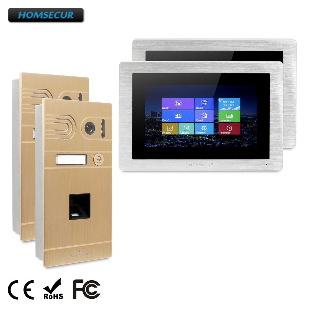 "HOMSECUR 7"" Wired Video Door Phone Intercom System with Touch Screen Monitor  BC061-G +BM714-S"