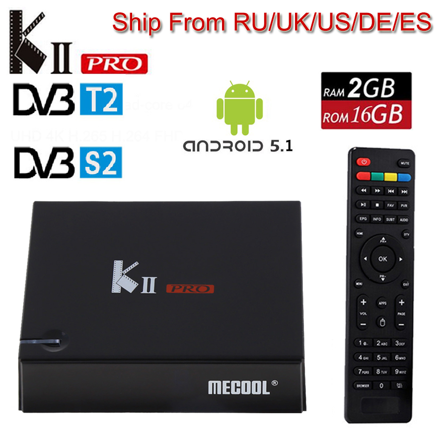 KII Pro DVB S2 DVB T2 Android 5.1 smart TV Box DVB T2+S2 Amlogic S905 Quad-core BT4.0 2G/16G Wifi Smart Media Player set top box i box rs232 dvb s satellite smart sharing nagra 3 dongle black