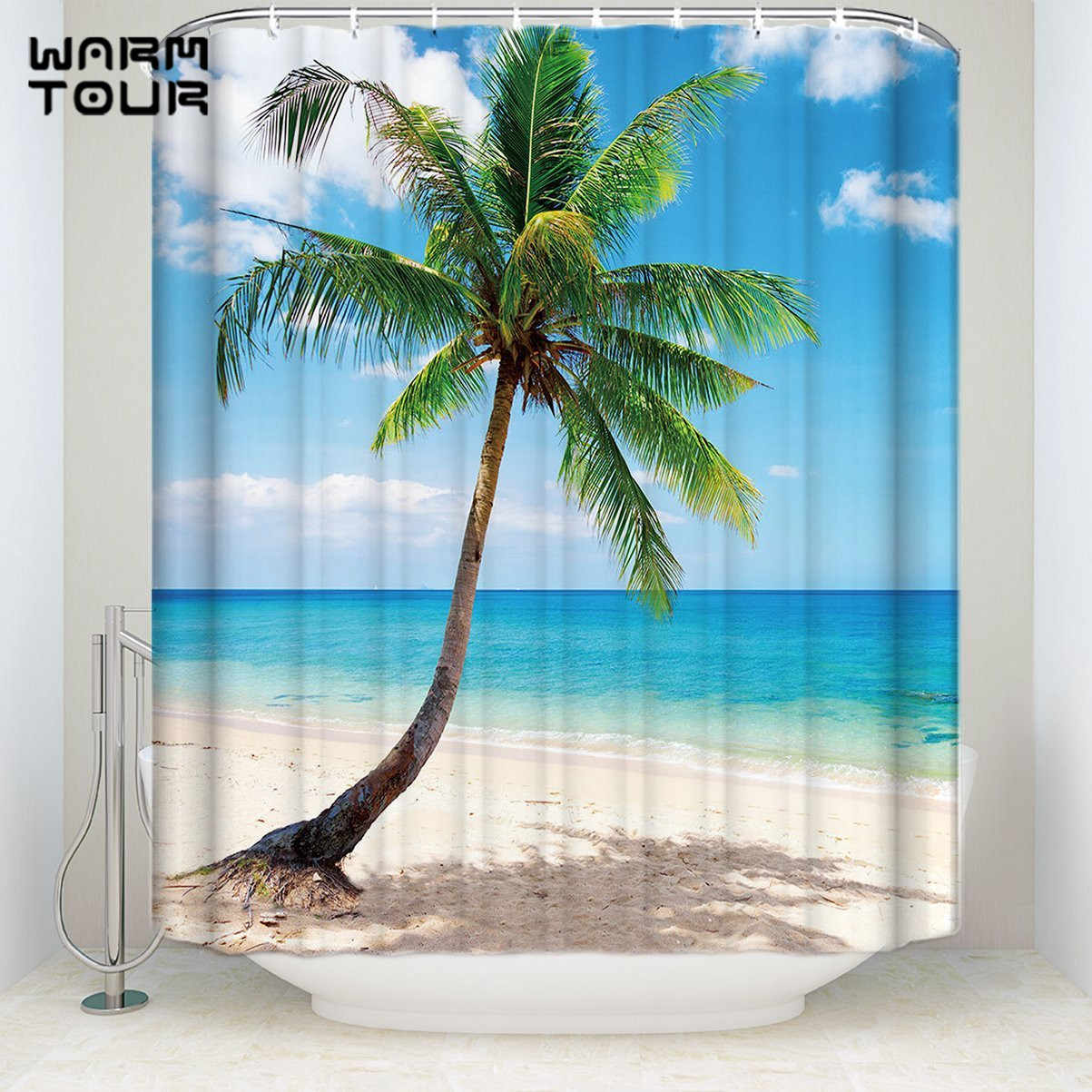 Bath Shower Curtains 72 X 72 Tropical Coconut Palm Tree Sandy Beach Mildew Resistant Bathroom Decor Sets With Hooks Shower Curtains Aliexpress