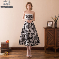 Strapless Black Print Lace A Line Tea Length Homecoming Dress Simple Fashion Yong Girl S Formal