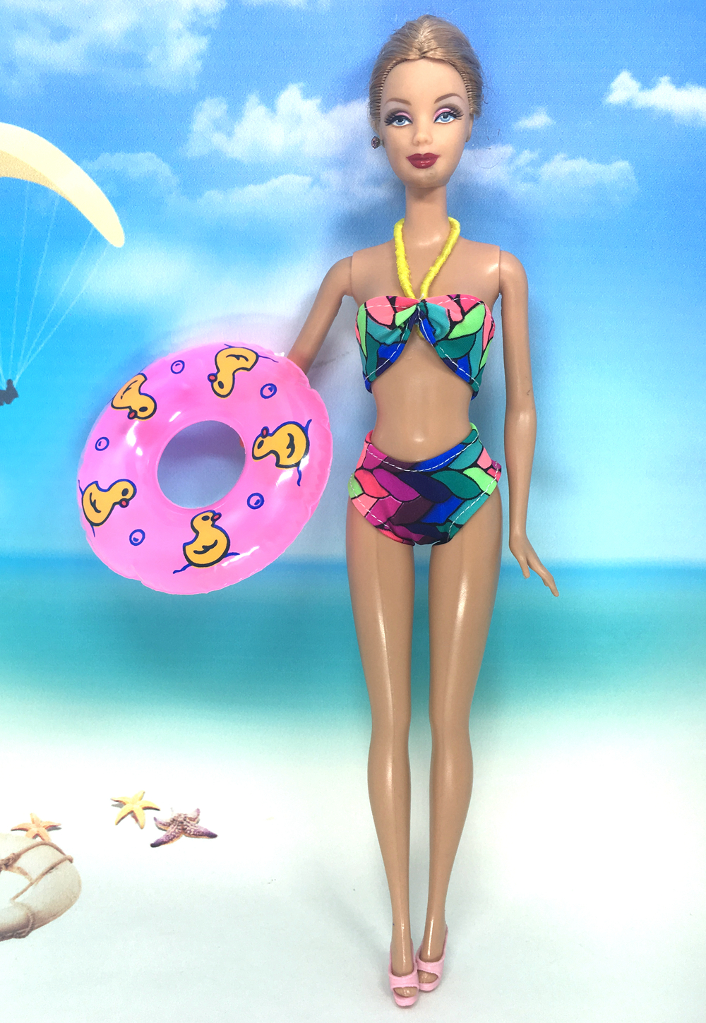 Dolls & Stuffed Toys Nk Doll Swimwear Beach Bathing Clothes Bikini Swimsuit+slippers+swimming Buoy Lifebelt Ring For Barbie Doll Best Accessories 004