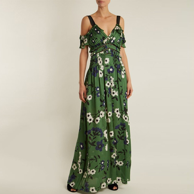 e31eefdf8e 2018 Summer Dress Women Sexy V neck Green Floral Print Chiffon Long Boho  Dress Self Portrait