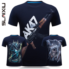 SLAIXIU Brand New Fashion Men's T-shirt Summer Casual Clothes Pattern Cotton Short Sleeve 3D Boys O-neck T Shirt Men Tops Shirts