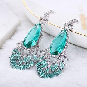 Image 2 - Pendientes de pavo real bonito con forma de cola para mujer, aretes de gota de agua con circón de lujo, joyería de latón elegante XIUMEIYIZU
